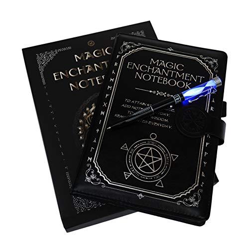 Monet Studios Magic Libreta de notas con varita, libro de hechizos góticos con runas mágicas, color negro, Negro