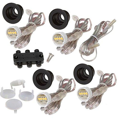 DEKOR LED Recessed Stair Lights Step Lighting for Indoor Outdoor Use (Antique Metal Black, Add-On 4 Pack)