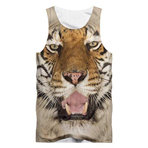 Camiseta sin Mangas con Estampado de Tigre Feroz con Estampado 3D para...
