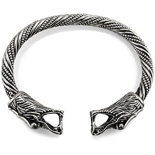 Wikinger Armreif Fenris Wolf 3 - Silber Bronze / Gold (Silber)