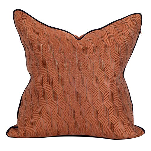 Cushion Covers Throw Pillow Cover Thick Geometric Jacquard Square Decorative Pillowcase For Living Room Sofa Chair Bedroom 50cm x 50cm(20x20 Inch) (Without Core) Orange