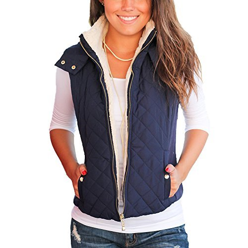 Idgreatim Winter Warm Solid Color Lightweight Quilted Zipper Coat Women Vests Outerwear