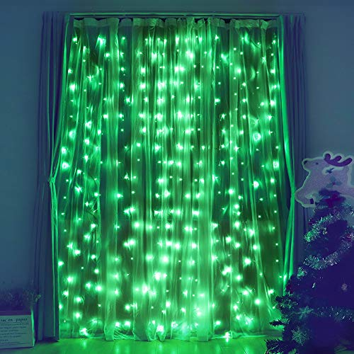 Fiee Curtain Lights,304L 9.8ftX9.8ft 30V 8Modes Safety Window Lights with Memory for Home Wedding Christmas Party Patio Lawn Garden Bedroom Outdoor Indoor Wall Decorations (304LED, Green)