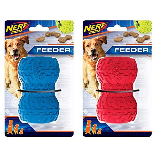 Nerf Dog Juguete para Perro con alimentador de neumáticos, Ligero, Duradero y Resistente al Agua, 10 cm, para Razas Medianas/Grandes, Paquete de Dos Unidades, Azul y Rojo