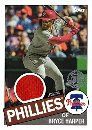 2020 Topps 1985 Relics #85R-BH Bryce Harper Game Worn Phillies Jersey Baseball Card