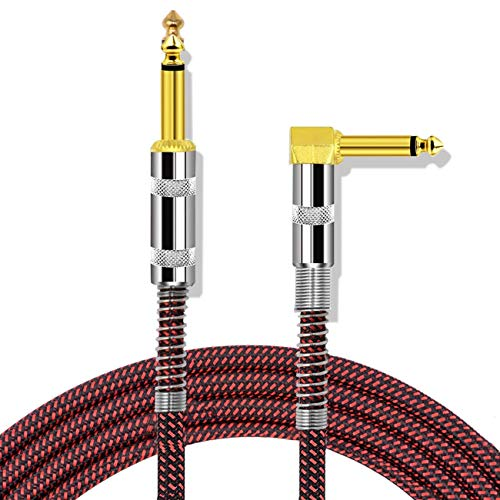 HONEST KIN Guitar Cable 10ft Electric Instrument Cable Low Noise Bass AMP Cord Right Angle 1/4 Inch TS to Straight for Electric Guitar, Bass Guitar, Electric Mandolin, Pro Audio (Black-red)