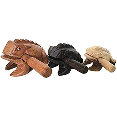 Percussion Instruments Wooden Frog 3 Piece Set of 4 Inch Brown Frog, 3 Inch Black Frog, 2.75 Inch Natural Wood Frog, Wooden Frog Musical Instrument.