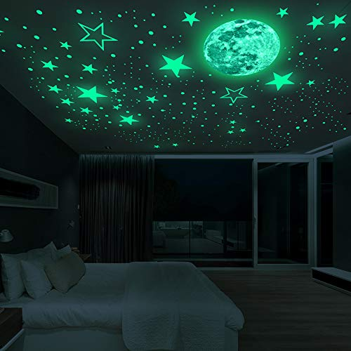 Luminous Wall Decals Ceiling Stickers Glow in The Dark Moon and Stars Starry Sky Shining Decals Room Decoration Perfect Gifts for Kids Bedroom Bedding Room, 1 Moon + 436 Stars and Dots