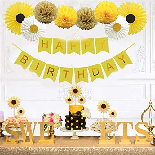 Winwinfly Party Inspo Sonnenblume Geburtstagsfeier Dekorationen Zubehör Kit, Sonnenblume alles Gute zum Geburtstag Banner, gelbe Sonnenblumen Cupcake Topper, Seidenpapier Fans, Pom Poms