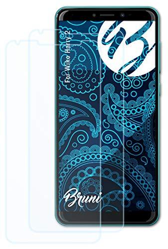 Bruni Schutzfolie kompatibel mit Wiko Harry 2 Folie, glasklare Bildschirmschutzfolie (2X)