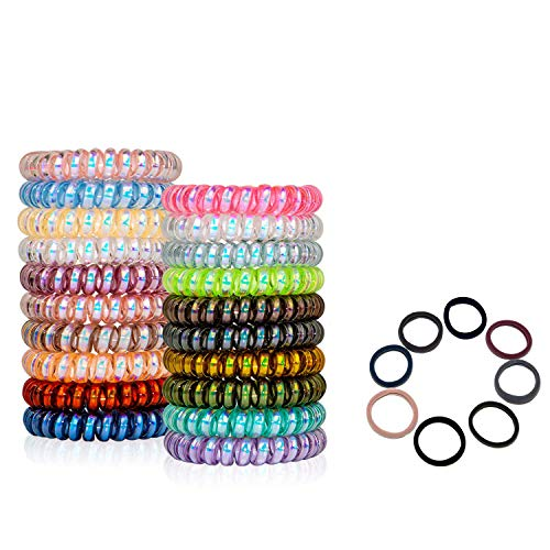 Spiral Hair Ties, Colorful Fluorescent Series Coil Hair Ties, 20 Colors Traceless Hair Ties, Waterproof Hair Coils For Women Girls