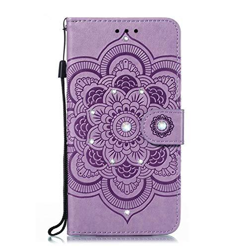 Handytasche Kompatible für Sony Xperia L4 Handyhülle Hülle Case Sonnenblume Lederhülle Tasche Flipcase Cover Silikon Schutzhülle Skin Ständer Klapphülle Schale Bumper für Sony Xperia L4 lila