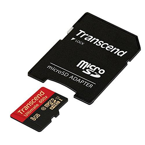 Transcend Ultimate - Tarjeta microSD de 8 GB (incorpora Chip MLC de máxima Calidad, uhs-i, Clase 10-90 MB/s, 600x - con Adaptador a SD), Negro