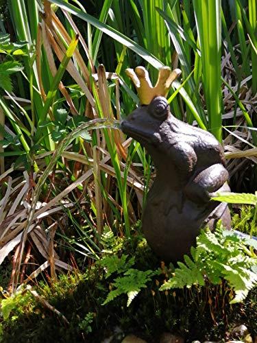 Trendkontor Wasserspeier Froschkönig 22cm inkl. Pumpe Teich Dekoration Gartenfigur Gusseisen