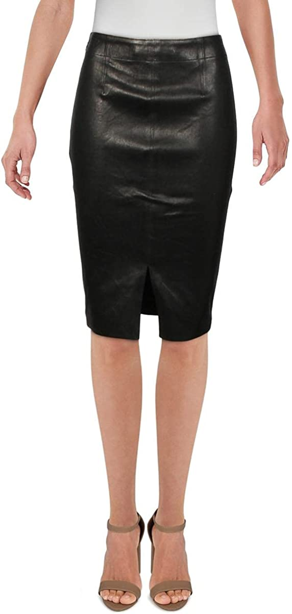 J Brand Womens Lamb Leather Mini Pencil Skirt
