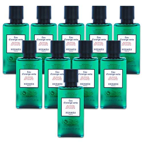 Ten Hermès Eau d'Orange Verte Luxury Body Shower Gel Douche Pour Le Corps in Bubble Bag - Set of 10 X 1.35 Ounce/40 ML Bottles, Total 13.5 Ounce/400 ML