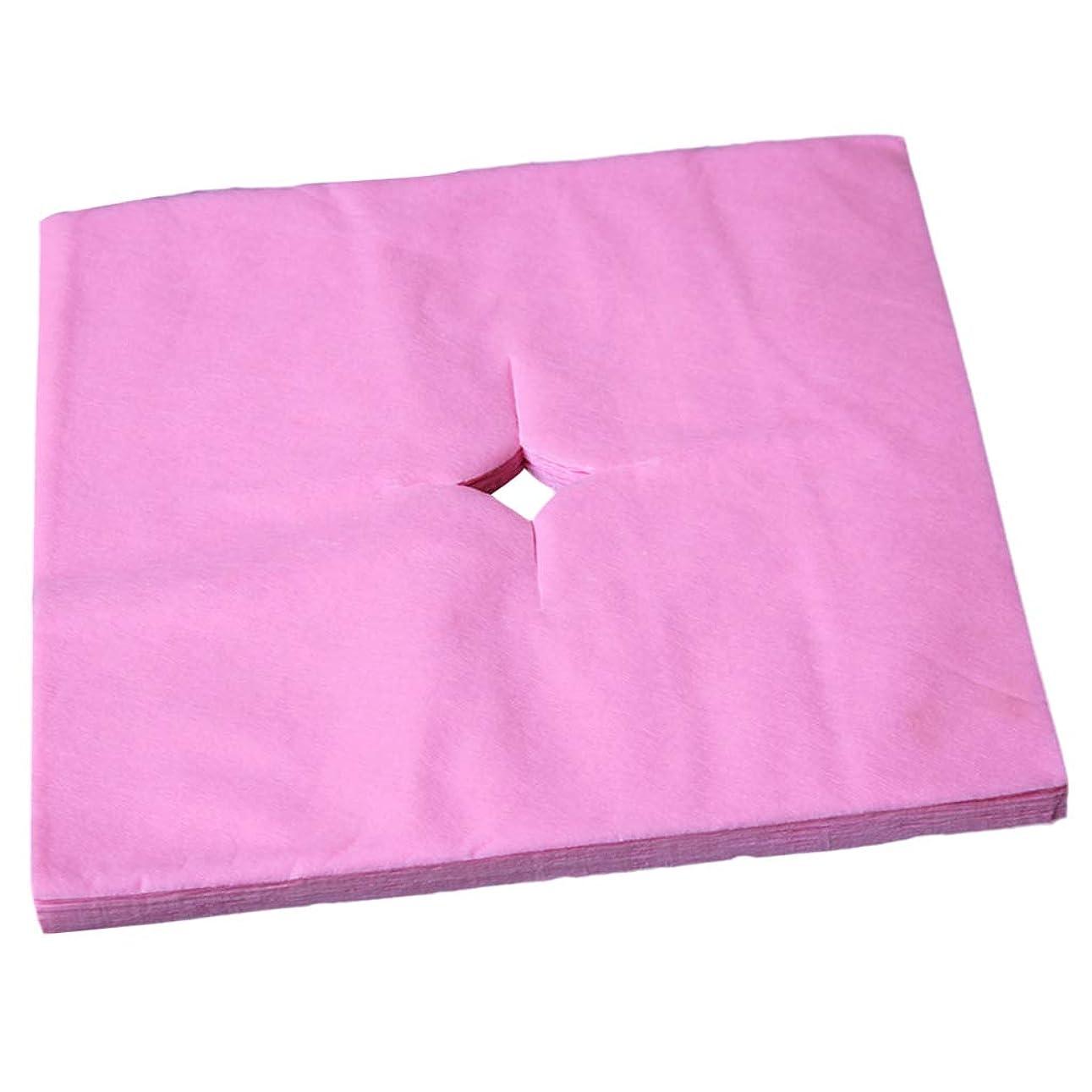 一掃する敷居法廷dailymall 100ピース/個スパサロン使い捨てマッサージフェイスレストクッションカバークレードルシートクロスカットホール - ピンク