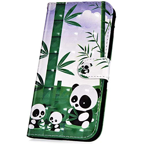 Surakey kompatibel mit Sony Xperia XA1 Ultra Hülle Schutzhülle 3D Glänzend PU Leder Flip Hülle Handyhülle für Sony Xperia XA1 Ultra Lederhülle Brieftasche Wallet Tasche Etui Kartenfach Ständer, Panda
