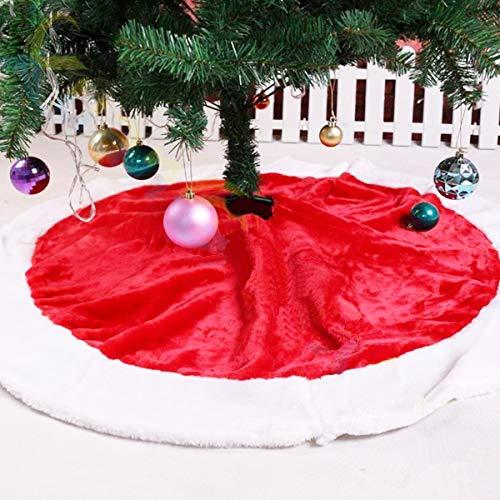 CUSFULL 120 cm Jupe de Sapin Noël en Peluche Décoration d'arbre de Noël Tapis Vacances Couvre Pied Sapin Noel Rouge Blanc