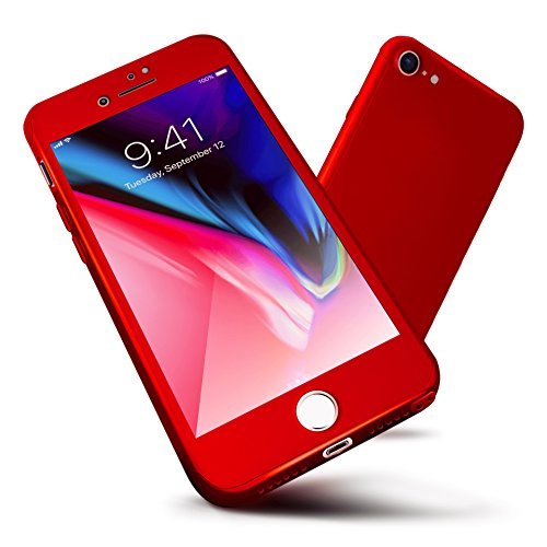 ORETECH iPhone 8 Case, iPhone 7 Case 360 Full Body Hard PC Case with[2 x Tempered Glass Screen Protector] Ultra-Thin Lightweight Shockproof and Anti-Scratch Case for iPhone 8/7 Case -4.7'-Red