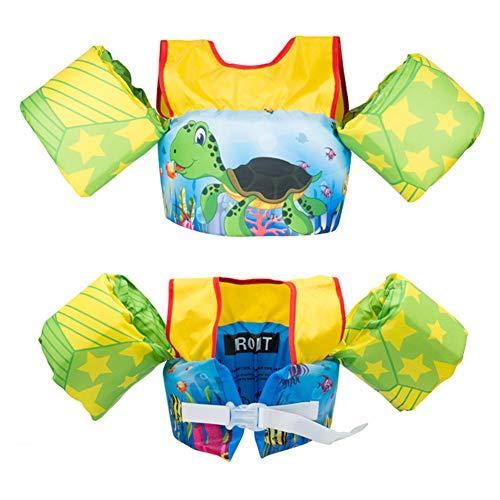 DASGF Brassard Enfant Puddle Jumper,Flotteurs Gonflables pour Bras,Flotteurs Gonflables pour Apprendre à Nager,Nouvelle Qualité,EPE Respectueux De l'environnement,2-6 Ans,14-25kg,Turtles