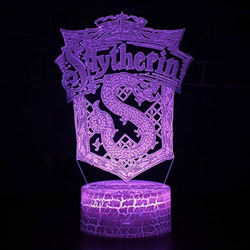 Vitila Harry Potter 3D Led Ilusión Luz Noche Luz Mesita De Noche Lámpara De Mesa Cambio Colorido Regalo Creativo, Base De Grietas: Toque Colorido + Control Remoto