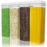 Contenitori Alimentari per Pasta Senza BPA, Contenitore Ermetico per Conservazione Alimenti con Airtight Coperchi per Pasta, Spaghetti, Farina, Tè, Caffè, Riso, Set di 4