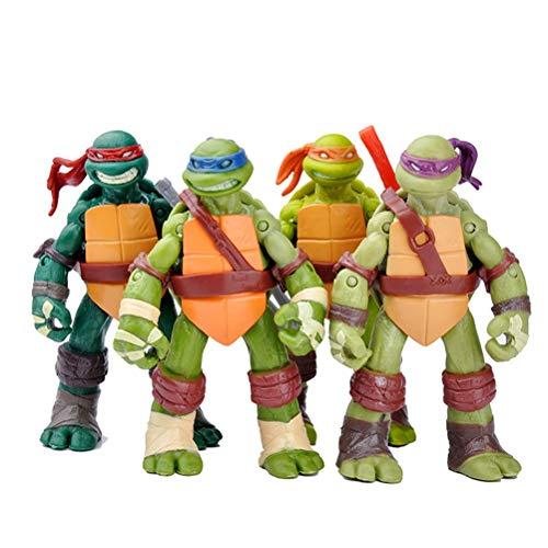 QYF Teenage Mutant Ninja Turtle Spielzeug Satz von 4, Teenage Mutant Ninja Turtle Action-Figuren, abnehmbare Waffen, Kindergeburtstag Sammlung