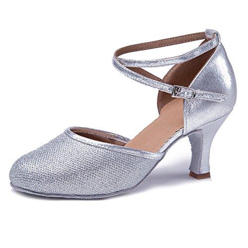 HIPPOSEUS Zapatos de Baile Latino para Mujer Zapatos de Baile de salón Salsa Tango con Purpurina Plateada y Punta Cerrada,35 EU