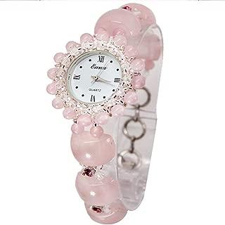 Fashionable Wrist Watch Natural Pink Crystal Bracelet Wristwatch Creative Waterproof Quartz Watch for Women Ladies Gifts
