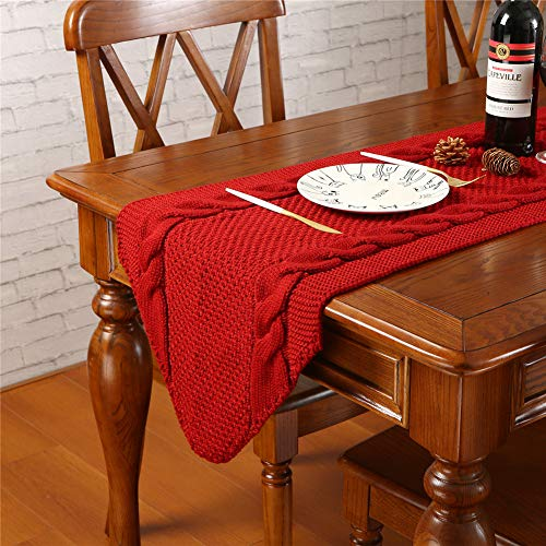 Sattiyrch Christmas Knit Table Runner, White Thick Luxury Table Decoration for Holiday,15x70 Inch (Burgundy)