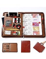 Carpeta de piel con cremallera A4 para conferencias, para negocios, documentos, con carpeta de anillas, bloc de notas A4, portatarjetas, calculadora y carpeta de documentos de negocios