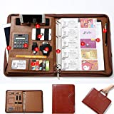 A4 Zipper Leather New Version Conference Folder Business Document Bag Portfolio with Ring