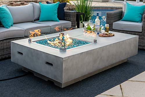 AKOYA Outdoor Essentials 65' Rectangular Concrete Gas Fire Pit Table with Glass Guard and Fire Glass in Gray (65' Rectangular Gray, Caribbean Blue)