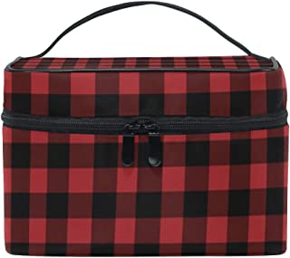 Portable Rustic Red Black Buffalo Check Plaid Print Travel Cosmetic Bag Makeup Bag Makeup Case Organizer Train Case Toiletry Bag with Large Capacity for Cosmetics Make Up Tools