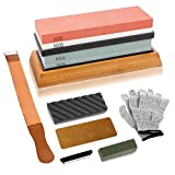Complete Knife Sharpening Stone Kit, WICHEMI 4 Side Grit 400/1000 3000/8000 Professional Whetstone Sharpener Water Stone Set with Flattening Stone, Leather Strop, Angle Guide, Gloves and Non-slip Bamb