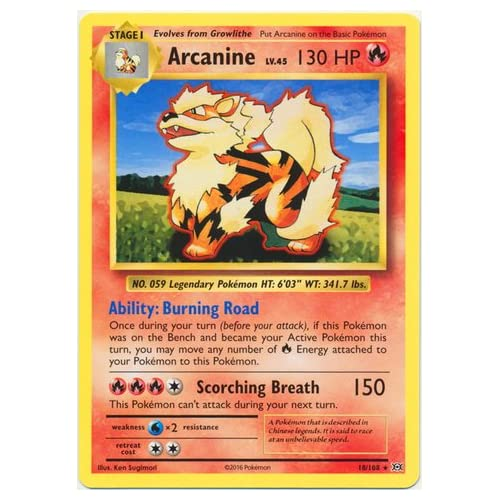Evolution Pokemon Card Arcanine 18//108 Excellent
