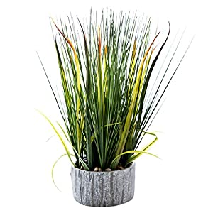 16 inches Artificial Green PVC Grass Potted Plant, Authentic Looking Fake River Grass with Planter