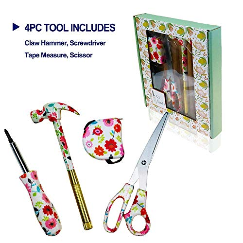 GS Tools 4 Pieces Floral Household Hand Tool Set, Flower Designer with Scissor, Tape Measure, Claw Hammer and Screwdriver for Home Makers, Flower Print Tool Set for Him and Her