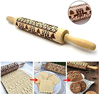 Embossed rolling pins for baking,Homemade Christmas or Halloween Cookies,Carved Elk printing Rolling Pin,Wooden Christmas gingerbread cookies Rolling Pin for Gift Birthday wedding Party (16.92'')