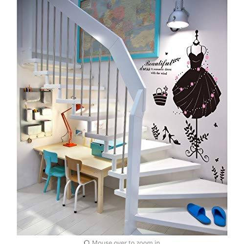 Zybnb zwart mooie jurk hoed tas hoge hakken schoenen winkel venster glas sticker slaapkamer kast trappen muur Decor muurschildering poster 50X70Cm