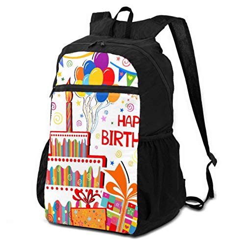 JOCHUAN Travel Backpack Foldable Happy Birthday Cute Funny Card Hiking Daypack Men Casual Backpack Foldable Lightweight Waterproof For Men & Womentravel Camping Outdoor
