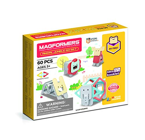 Magformers My First Animal Jumble 60Piece Set, Pastel Colors, Educational Magnetic Geometric Shapes Tiles Building STEM Toy Set Ages 3+