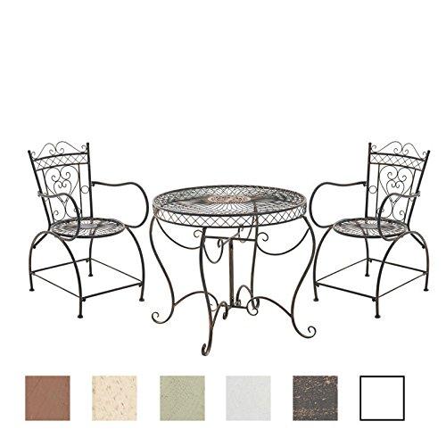 CLP Garten-Sitzgruppe Sheela I Garten-Set Aus Lackiertem Eisen: 1 Tisch Und 2 Stühle I Antike Gartenmöbel Im Jugendstil, Farbe:Bronze