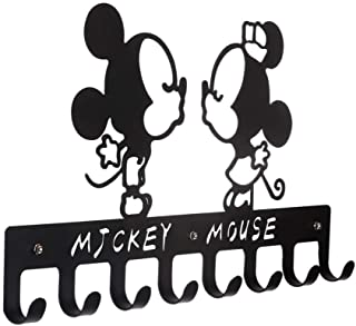 8-Hook Rack | Metal Wall Mounted Coat Rack | Key Holder for Wall | Hanging Racks with Hooks|Key Rack Organizer for entryway (Black, Cute Mickey Mouse)