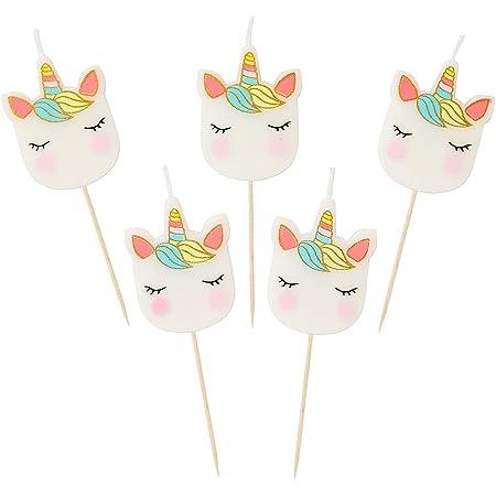 Talking Tables Candles Candele di Compleanno a Forma di Unicorno Confezione da 5 Pezzi, Cera