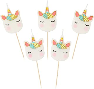 Talking Tables Pack of 5 Face Shaped Gold Glitter Detail, Cake Topper Candle Birthdays Partyware Accessories for Kids Boys...