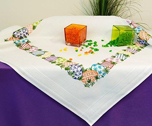 Kamaca Kit de punto de cruz para mantel de 80 x 80 cm, punto plano predibujado, algodón, juego completo de punto de cruz con plantilla, diseño de huevos de Pascua