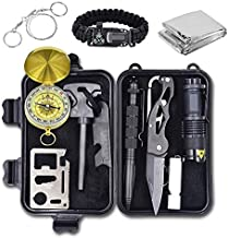 Emergency Survival Kit, 12 in 1 Outdoor Survival Gear Lifesaving Tools Contains Compass, Fire Starter, Flashlights for Camping Hiking Wilderness Adventures and Disaster Preparedness