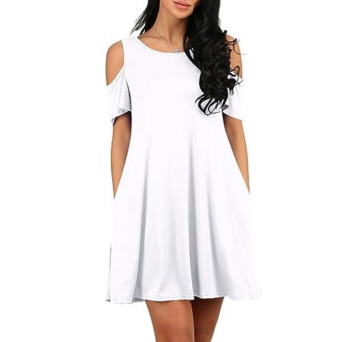 3e6ff75bdc3c MONIKEEN Women's Summer Cold Shoulder Loose Casual Swing T Shirt Dress Top  With Pockets